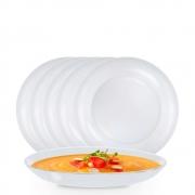 Jogo de Pratos de Vidro de Sopa Branco Redondo 6 Pcs