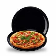Jogo de Pratos de Vidro Preto Raso Opanile Redondo 2 Pcs para Bolo/ Pizza