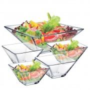Saladeira de Vidro Quadrada Milão Vidro Grande Ruvolo 5 Pcs