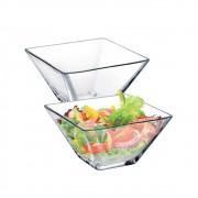 Saladeira Quadrada de Vidro Milão P 2 Pcs Vidro 280ml Ruvolo