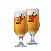 Taça de Cerveja de Vidro My King e My Queen de 330ml 2 Pcs