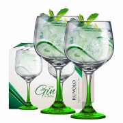 Taça de Gin Degrade de Vidro 650ml Verde 2 Pcs