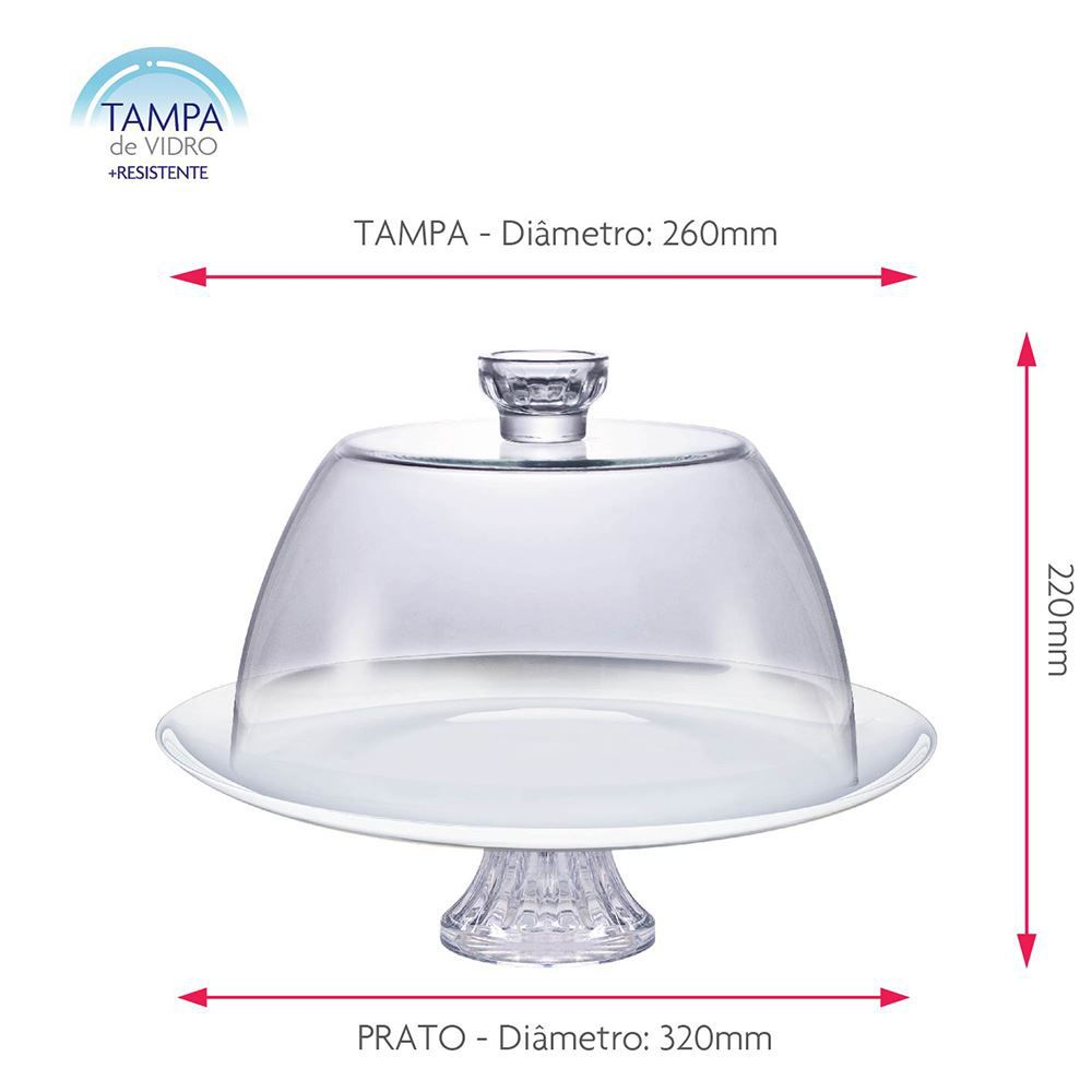 Boleira de Vidro com Tampa de Vidro e Pé White Branco Ruvolo