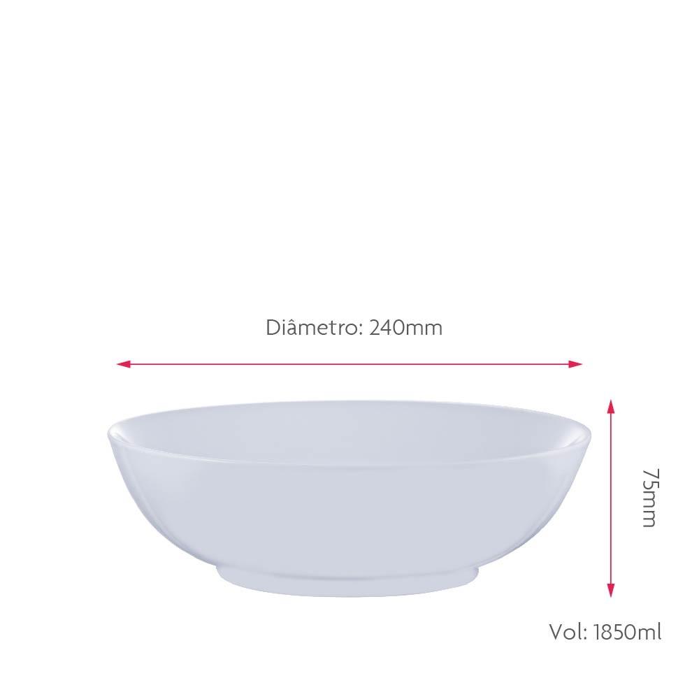 Bowl de Porcelana Branca Grande 24cm Jogo 2 pcs
