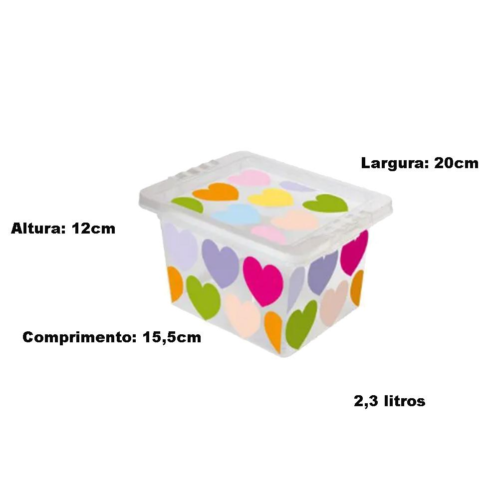 Caixa Organizadora com Tampa Mini Coração 2.3 Litros
