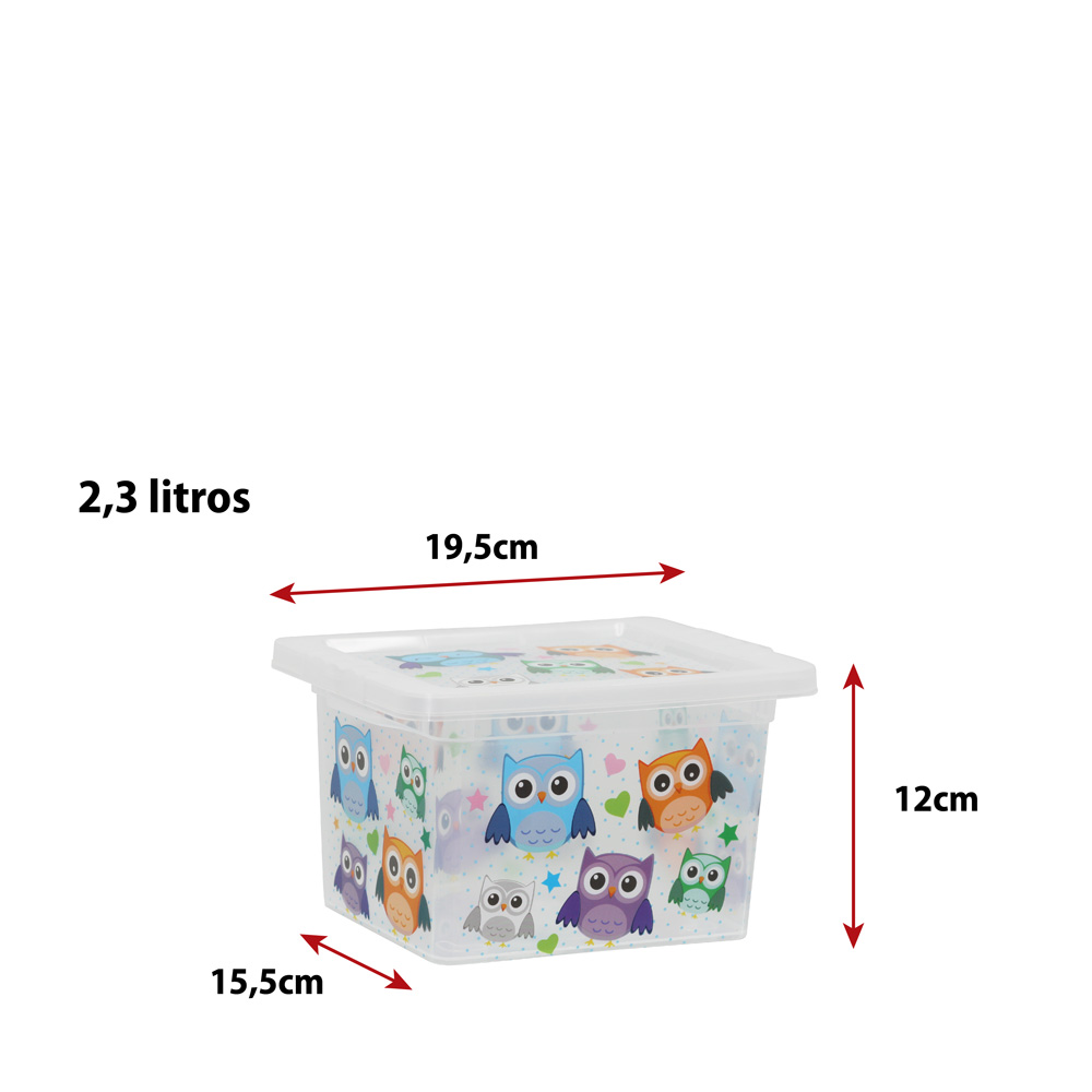Caixa Organizadora com Tampa Mini Transparente Coruja 2.3 Litros