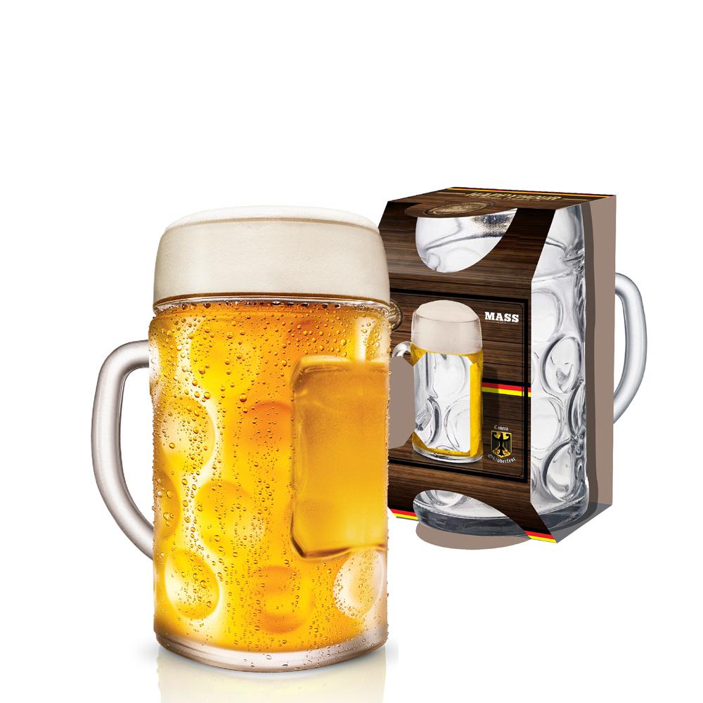 Caneca de Chopp de Vidro Cerveja Mass Krug M 610ml