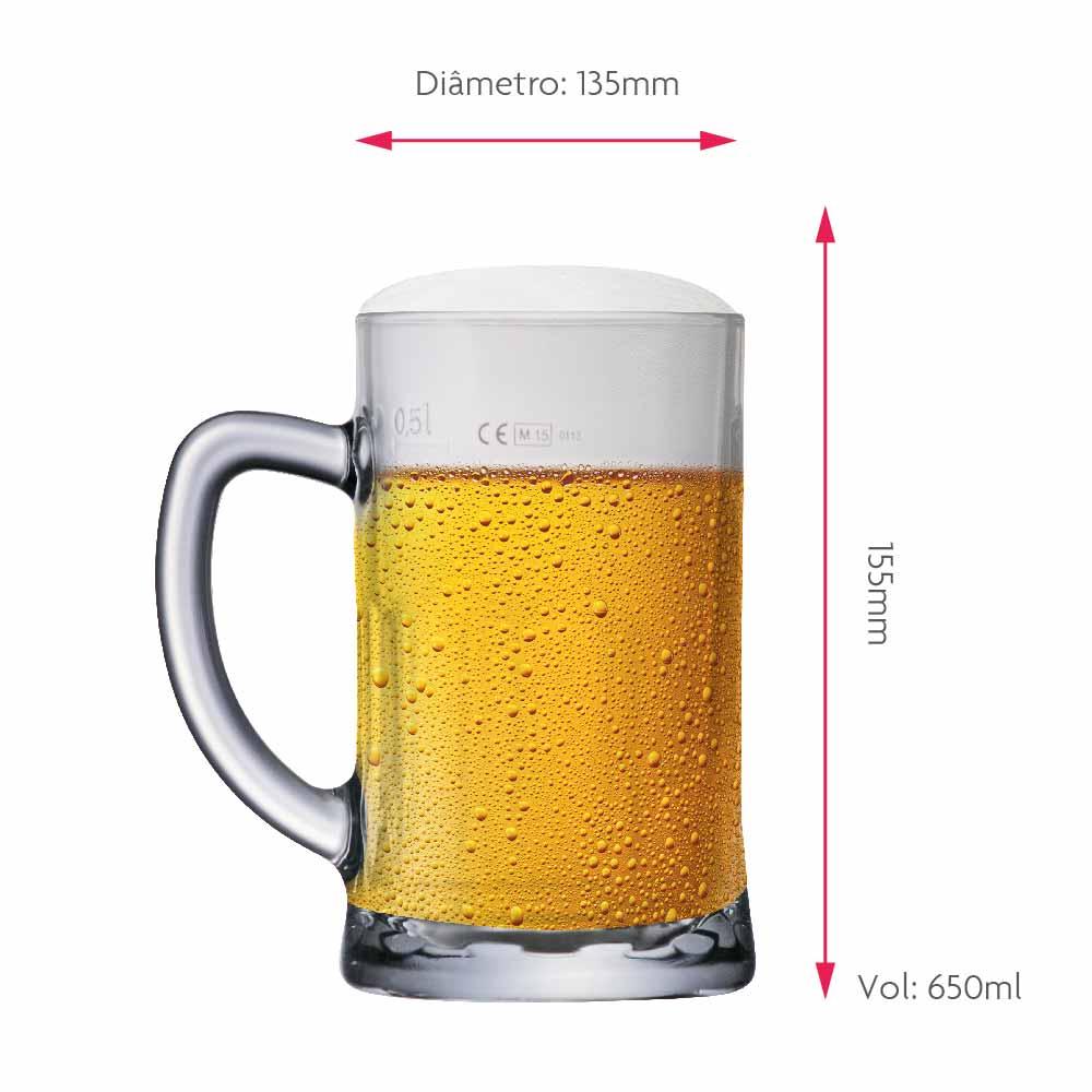 Caneca de Chopp de Vidro ou Cerveja Jupiler Neu A 650ml