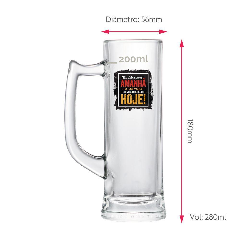Caneca de Chopp Frases Cerveja Não Deixe Sauerland 280ml