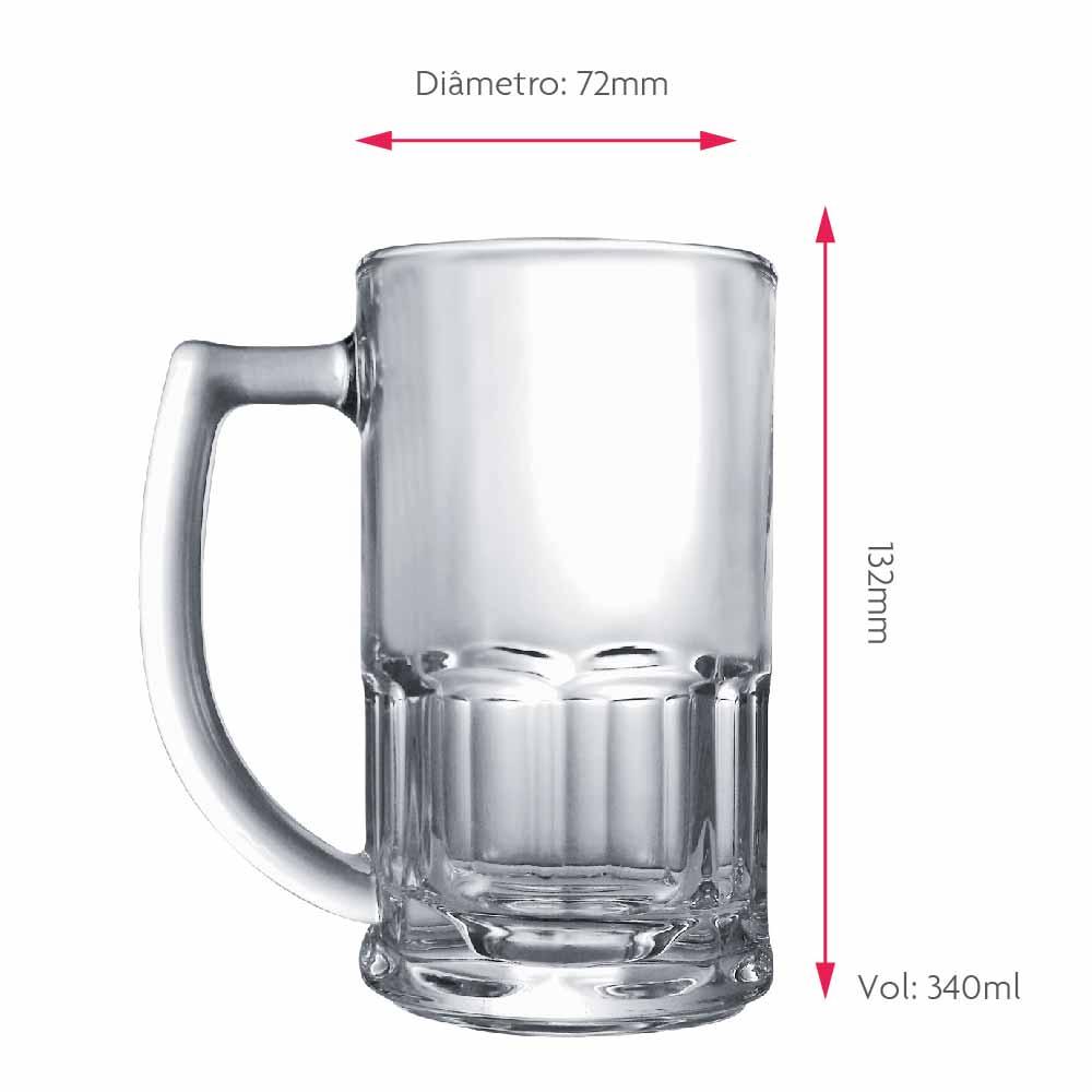 Caneca de Chopp de Vidro Cerveja de Cerveja Tudor 340ml