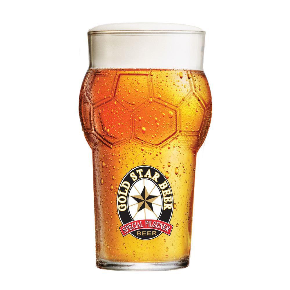 Copo Cerveja Rótulo Frases Gold Star Beer Futebol 580ml