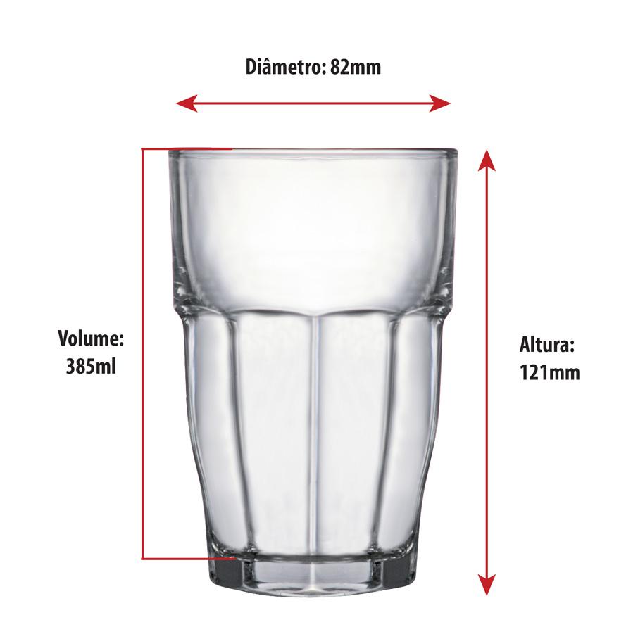 Copo de Água e Suco Vidro Long Drink Piccardie Rock Bar 6pcs