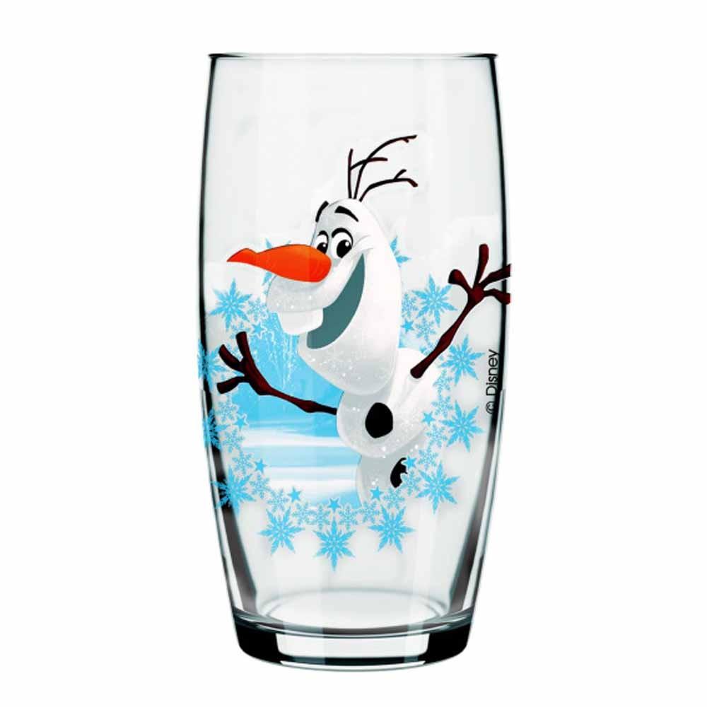 Copo De Água Olaf Frozen de Vidro Disney 430ml QE Ruvolo 4Pcs