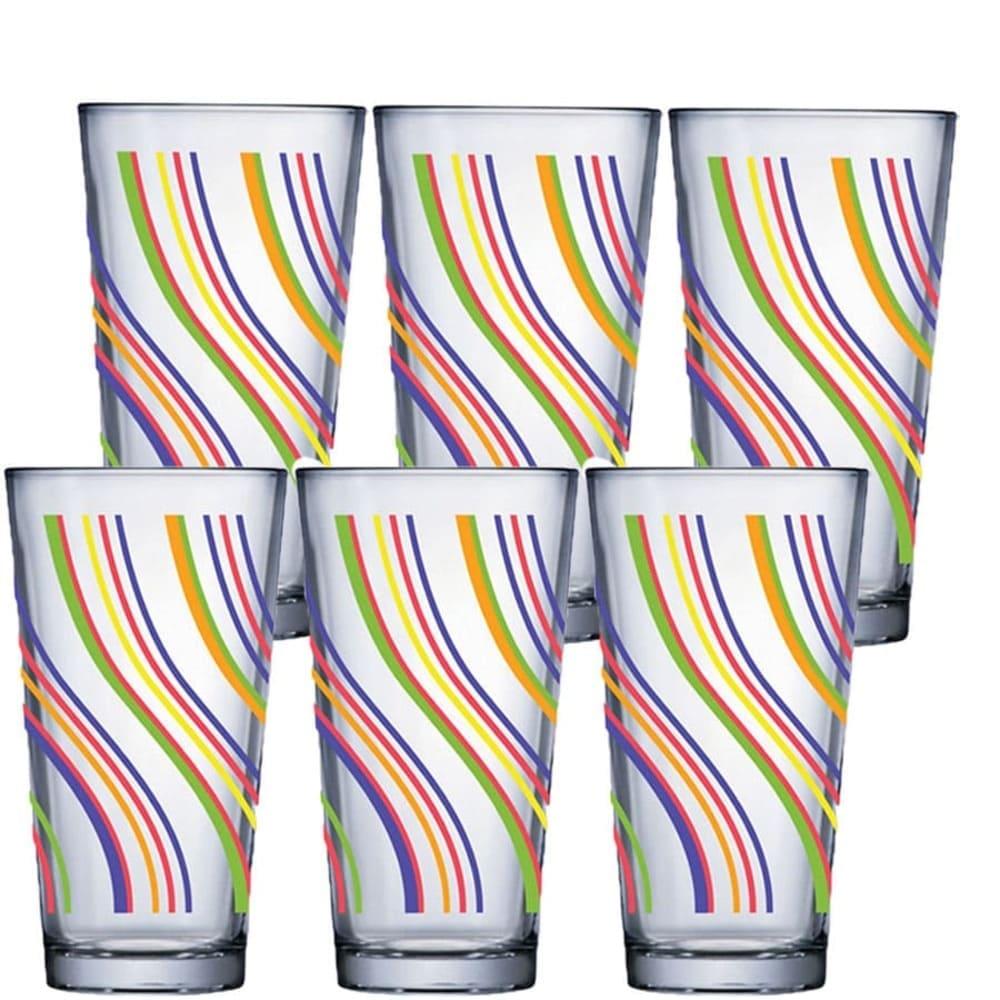 Copo de Água ou Suco Conic Mix Decorado Vidro 415ml 6 Pcs
