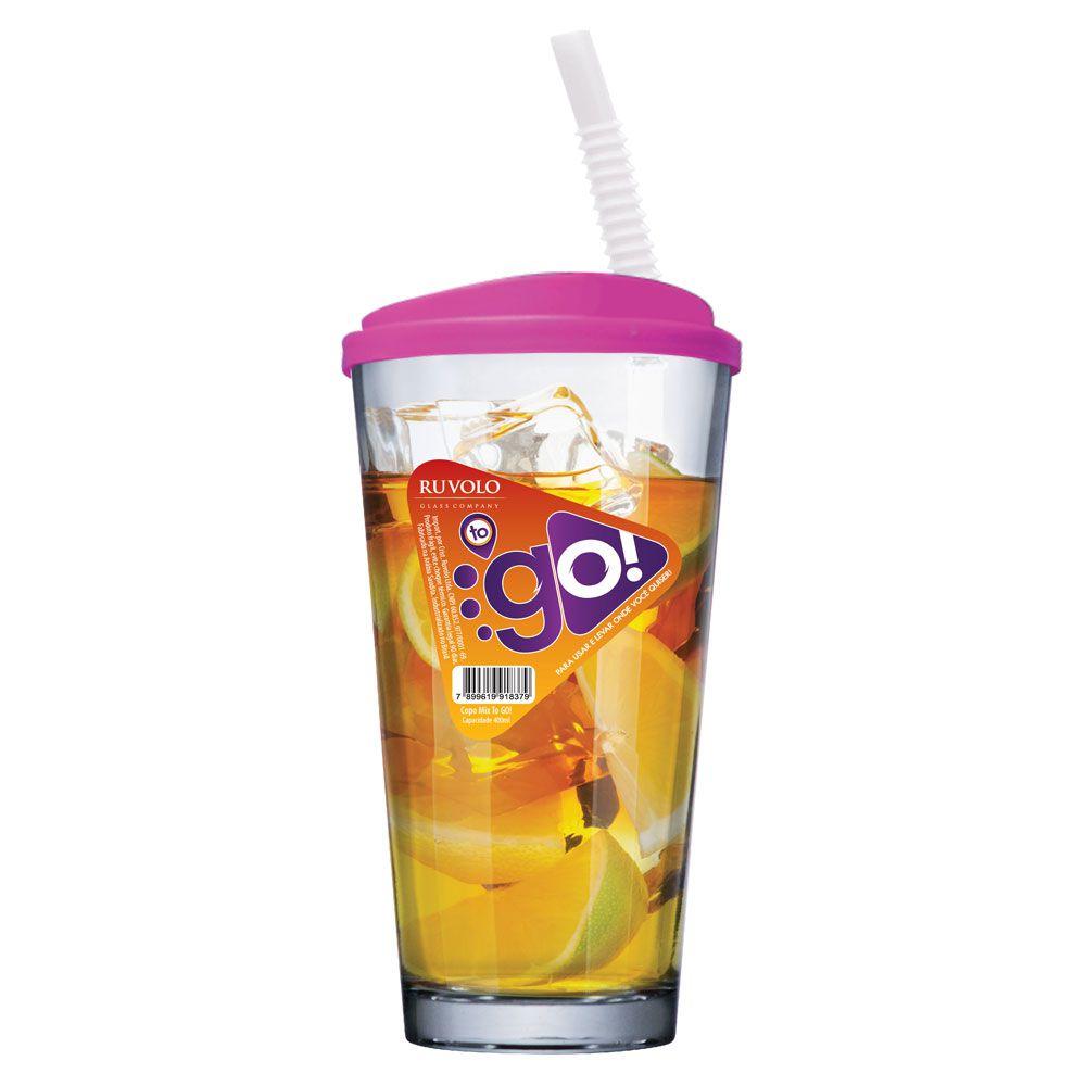 Copo de Água ou Suco To Go Mix Pink com Tampa e Canudo 415ml