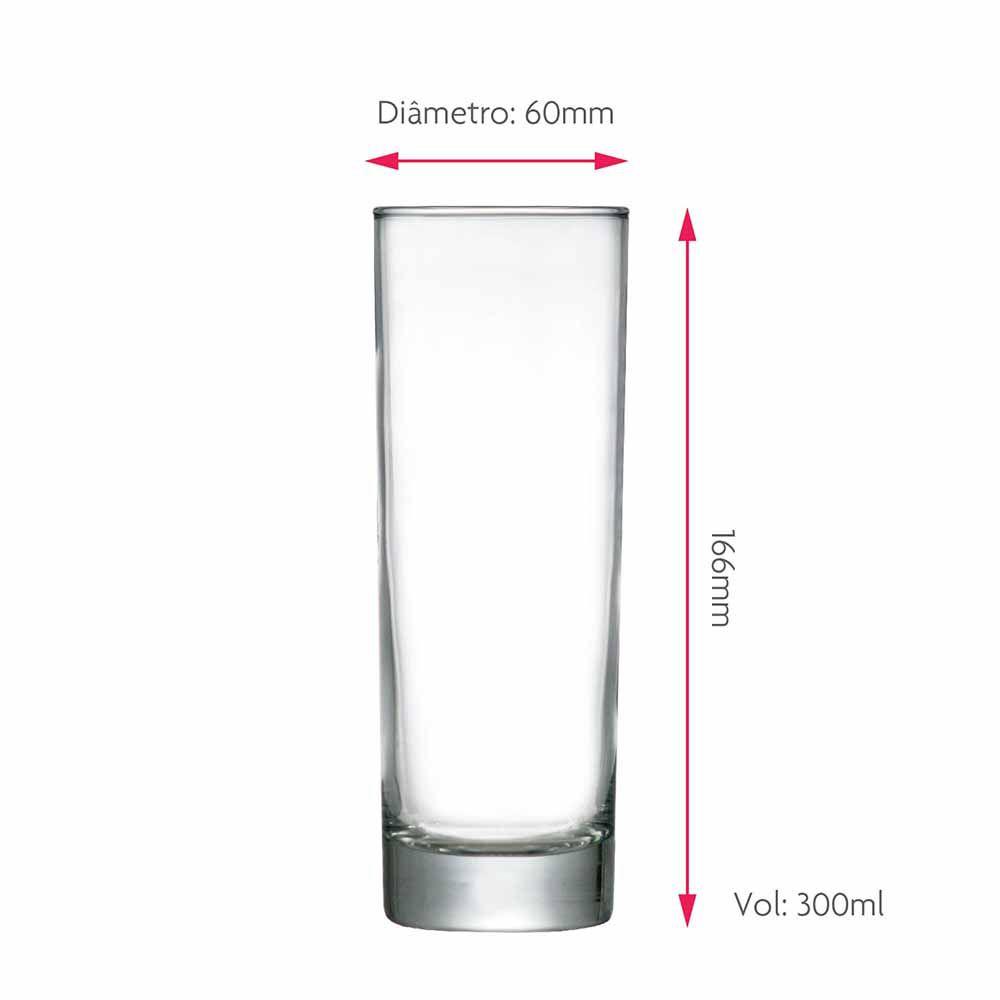 Copo de Água ou Suco Tubo Vidro 300ml