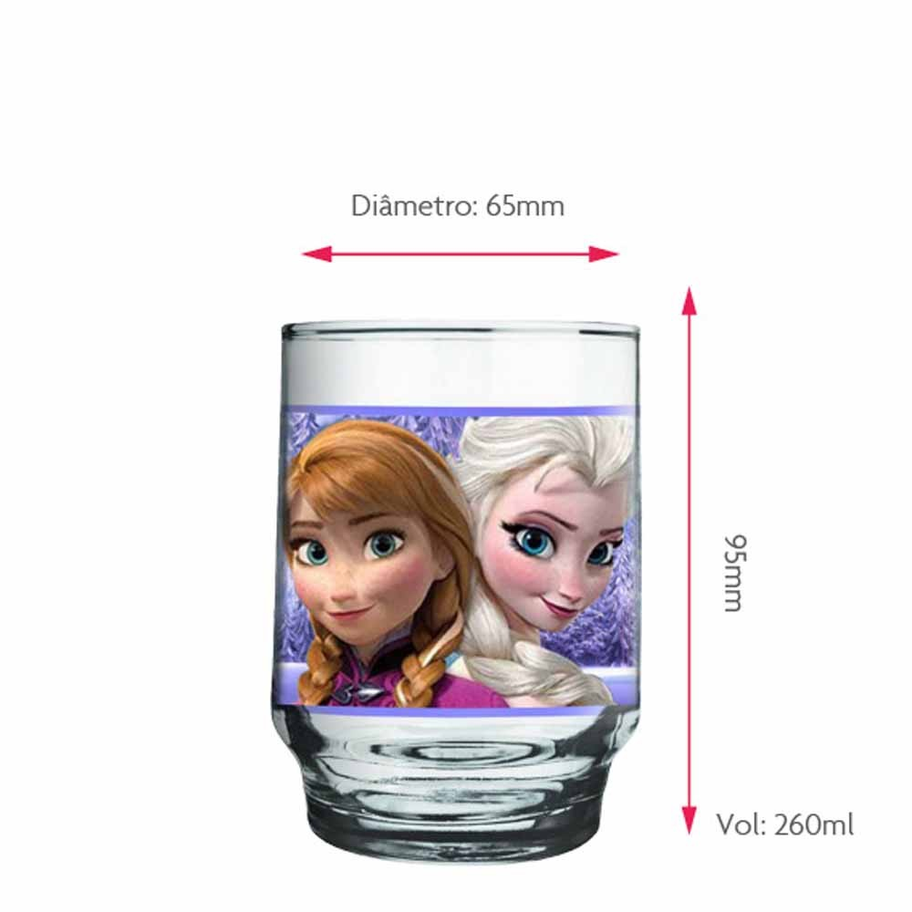Copo de Água Vidro Anna e Elsa Frozen Disney 260ml QE Ruvolo 4Pcs