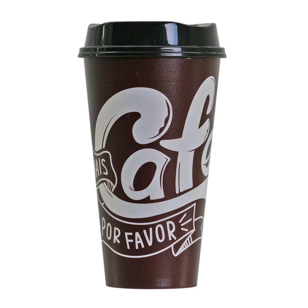 Copo de Café com Tampa Plástico Por Favor Tampa Preta 550ml