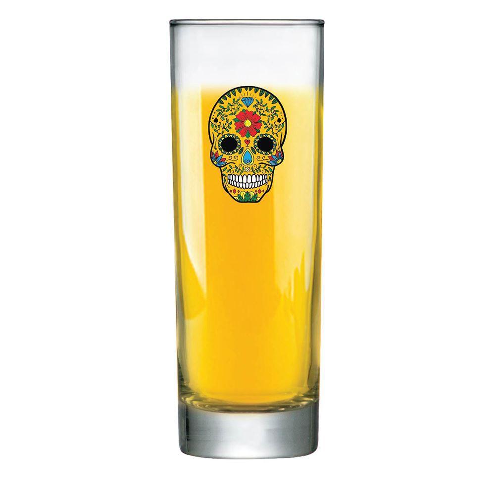 Copo de Água Caveira Mexicana Amarelo Tubo 300ml