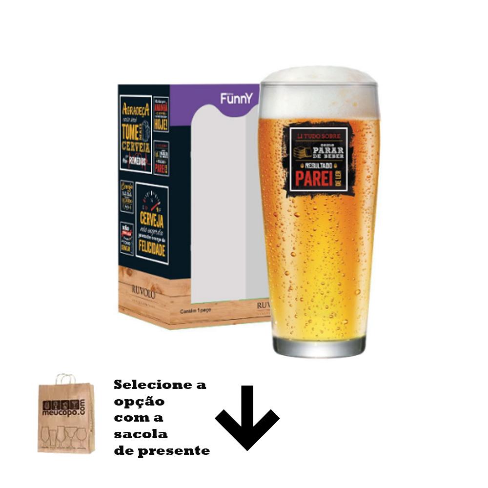 Copo de Cerveja com Frases Legais Li Tudo Willy P 310ml