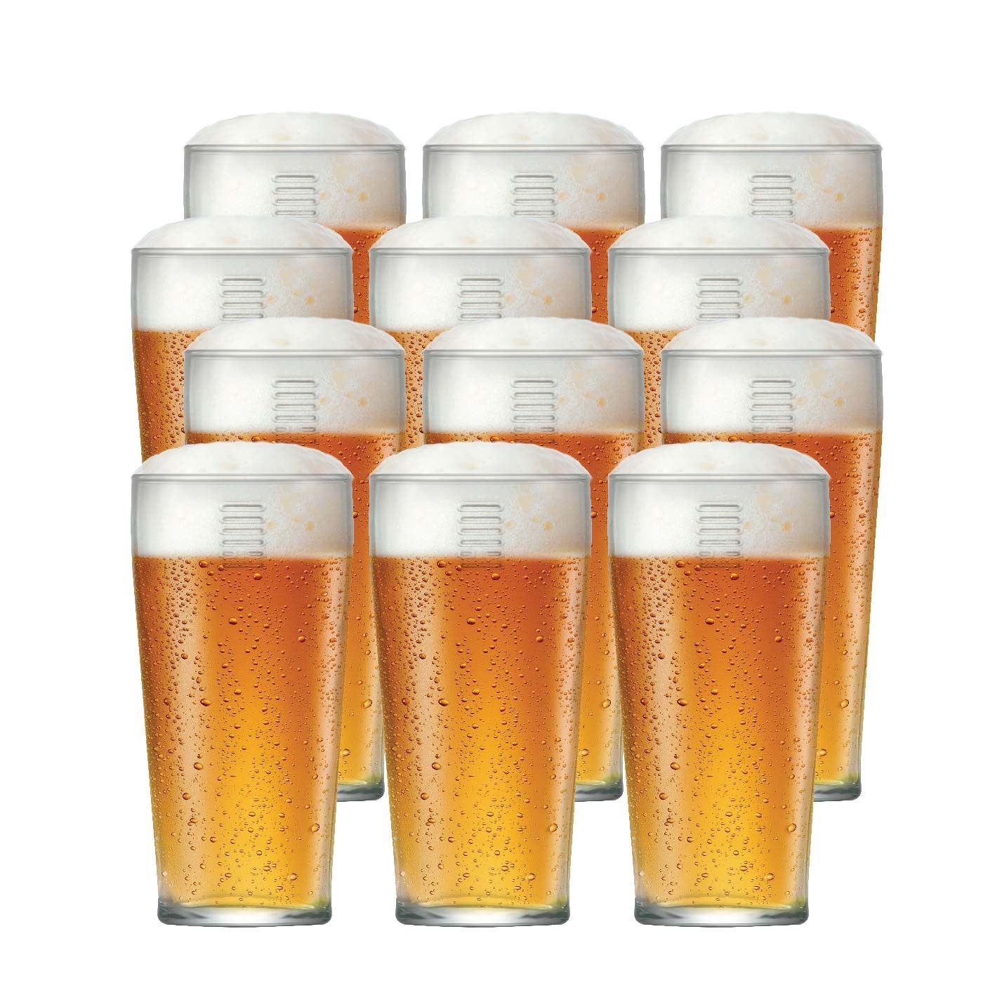 Copo de Cerveja de Vidro Hazel 12 Pcs