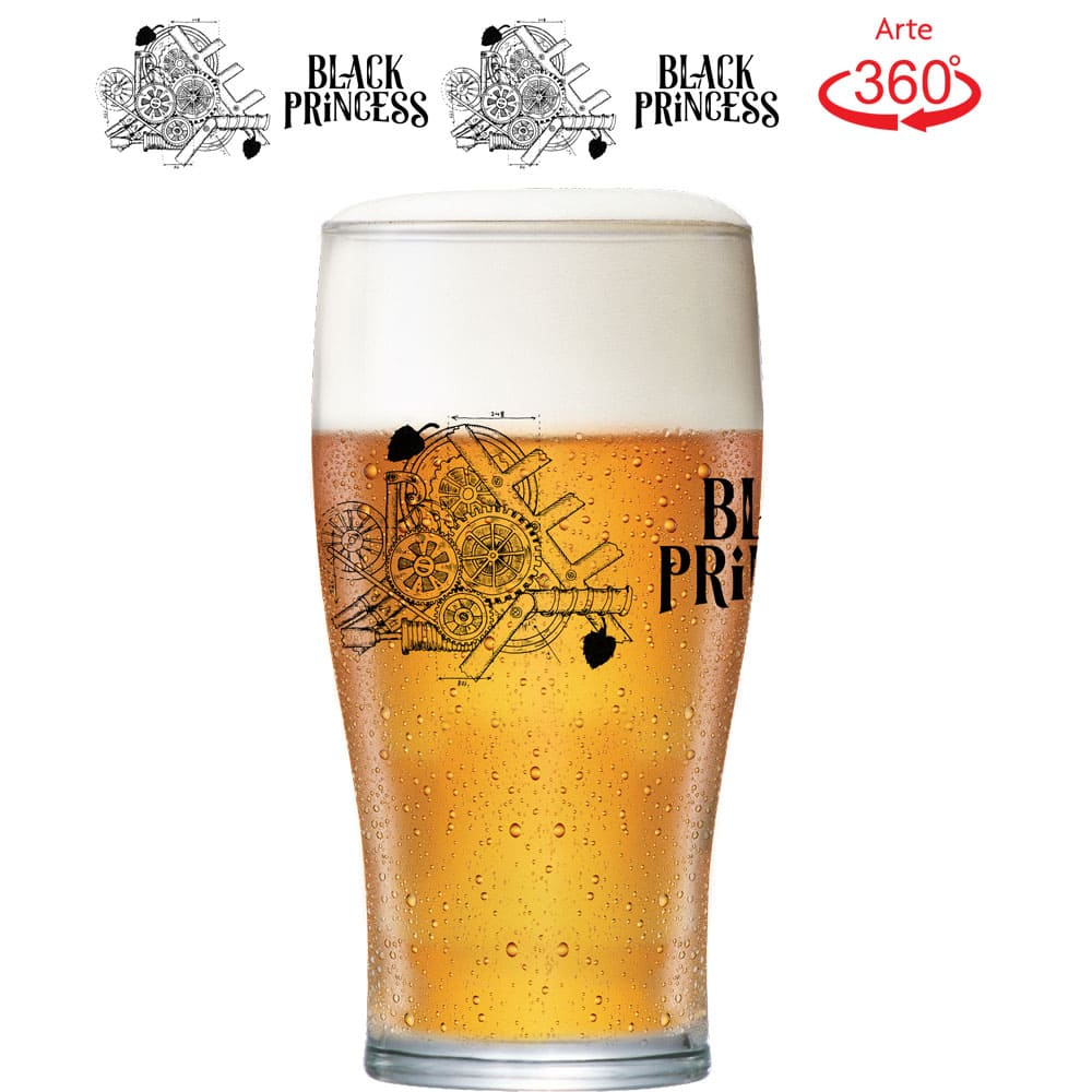 Copo de Cerveja Gold Dark Black Princess Cristal 568ml