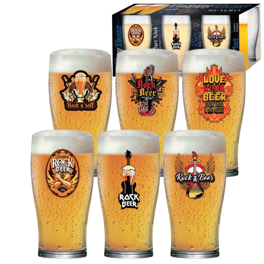 Copo Cerveja Luva Rock Collection Pint 568ml - 6 Peças