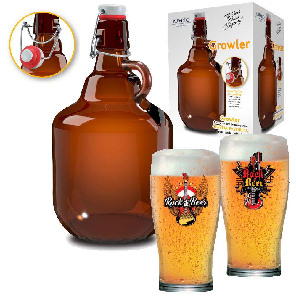 Copo de Cerveja Luva Rock Collection Pint 568ml + Growler 2 Litros