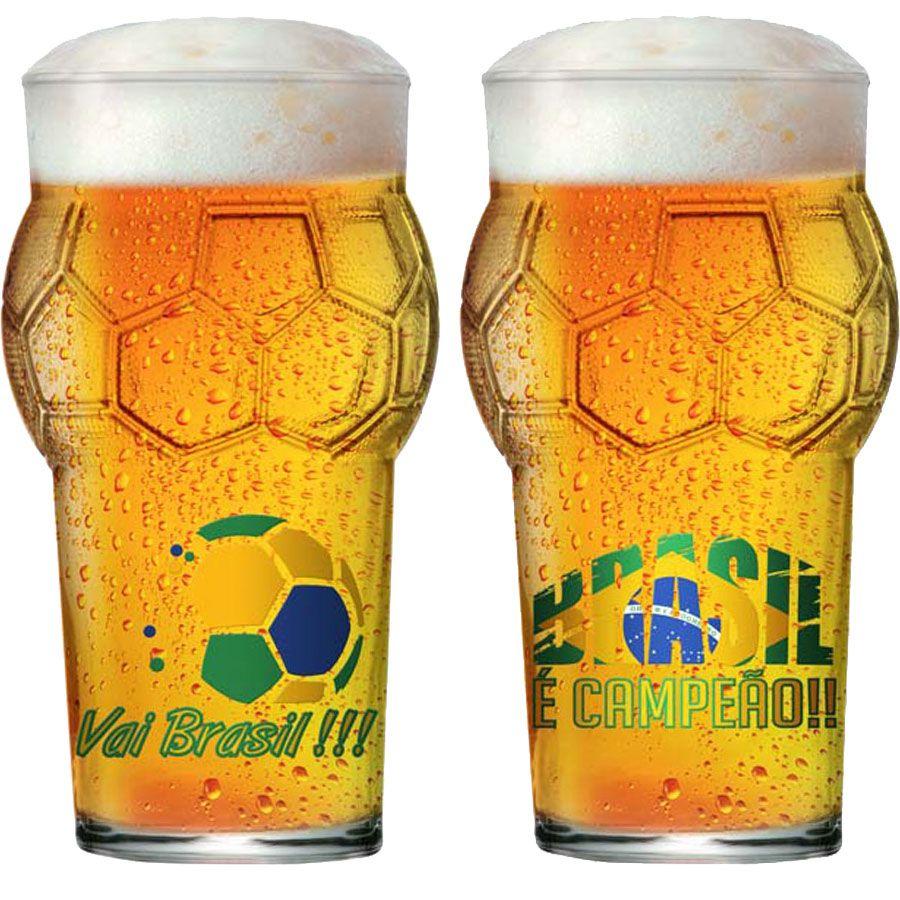 Copo de Cerveja de Vidro Pint Bola Copa do Mundo Futebol Vai Brasil 580ml  - 2 Pcs