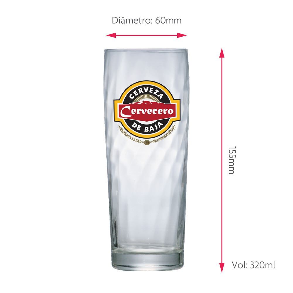 Copo de Cerveja Rótulo Frases Cervecero Zurich 320ml