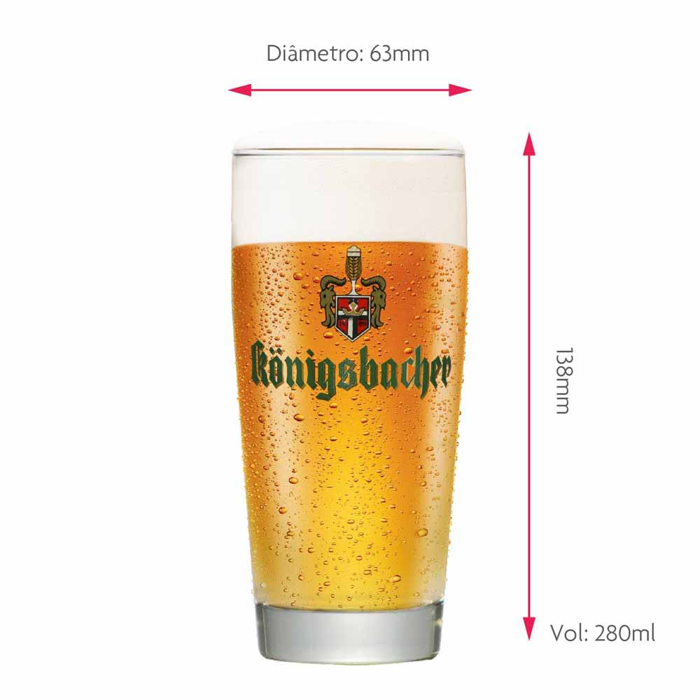 Copo de Cerveja Rótulo Frases Konigsbacher 0,20 Logo Dourado Vidro 280ml