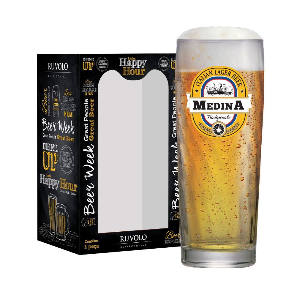 Copo de Cerveja Rótulo Frases Medina Zurich 320ml