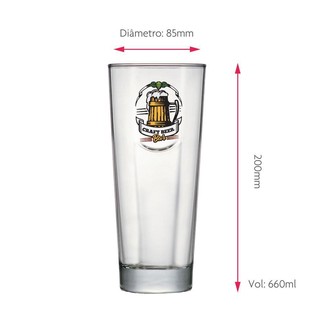 Copo de Cerveja Rótulos com Frases Craft Bar Event M 660ml