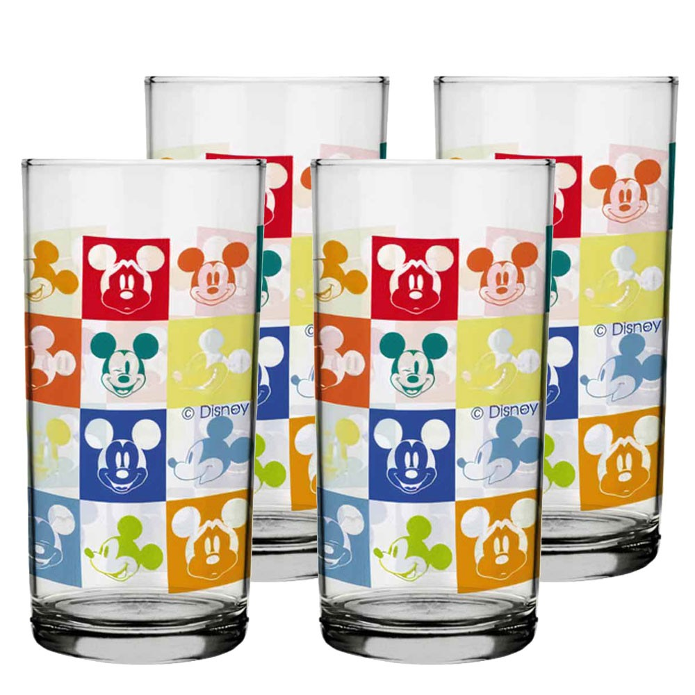 Copo Para Água Mickey Faces Disney 300ml QE Ruvolo 4Pcs