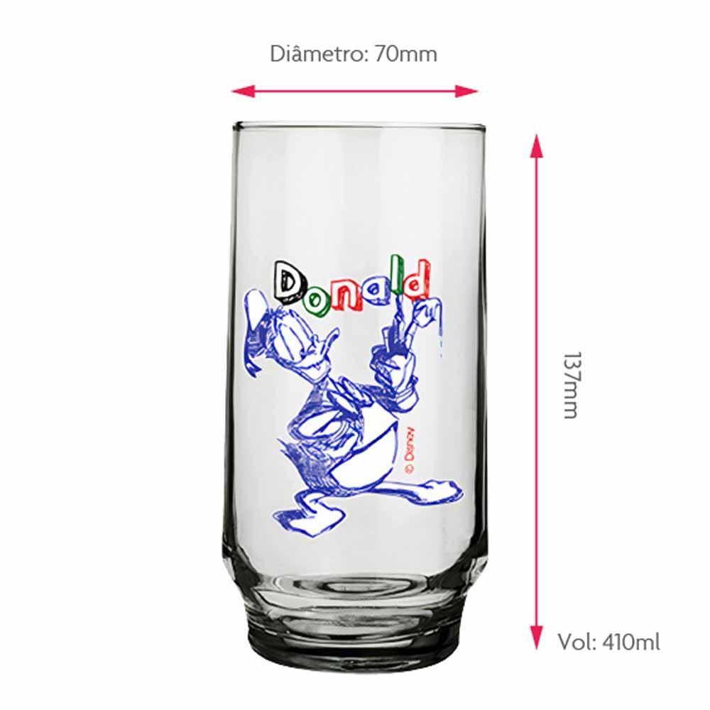 Copo Para Água Pato Donald Disney 410ml QE Ruvolo 4Pcs
