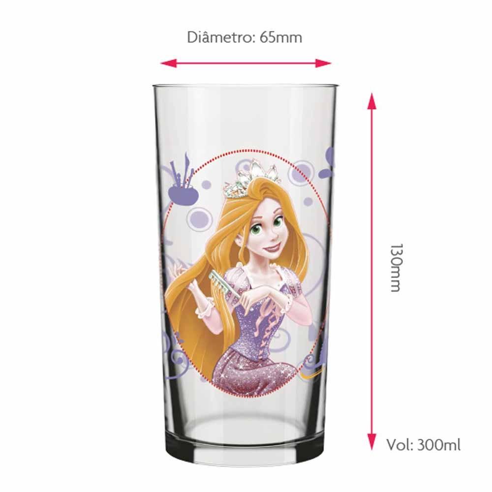 Copo Para Água Rapunzel Disney 300ml QE Ruvolo 4Pcs