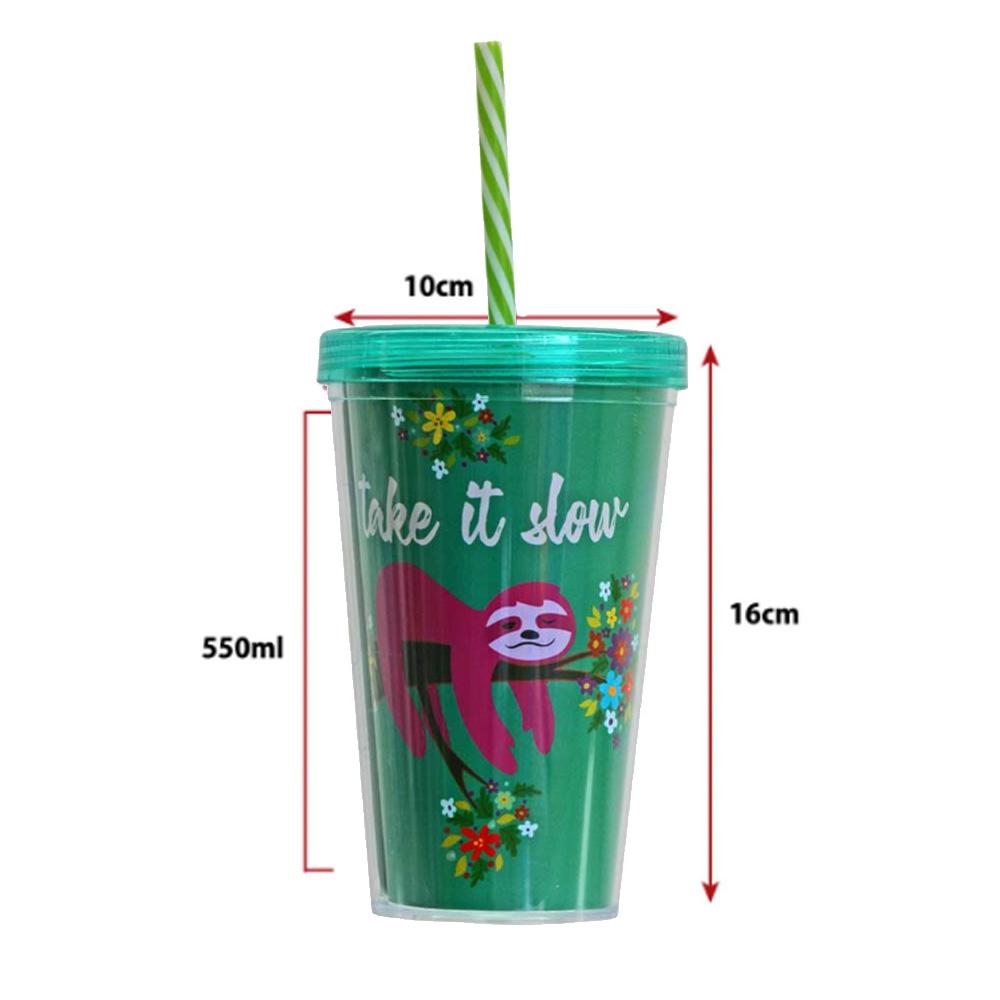 Copo Plástico com Tampa de Rosca e Canudo Duplo Preguiça 550ml