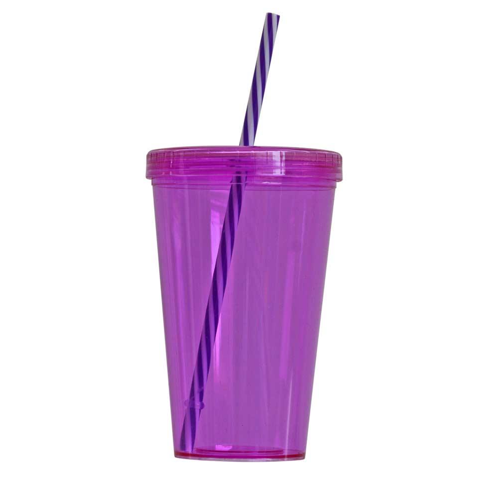 Copo Plástico com Tampa de Rosca e Canudo Duplo Roxo 700ml