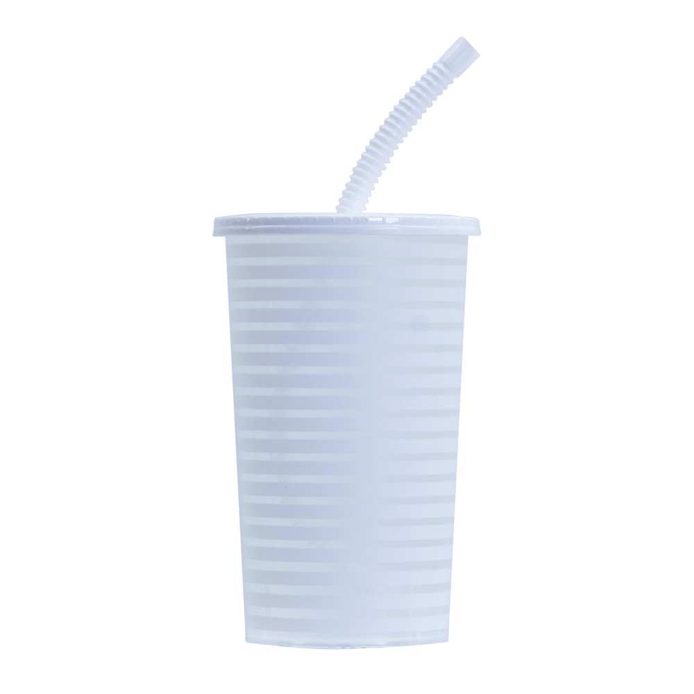 Copo Plástico com Tampa e Canudo Branco 600ml