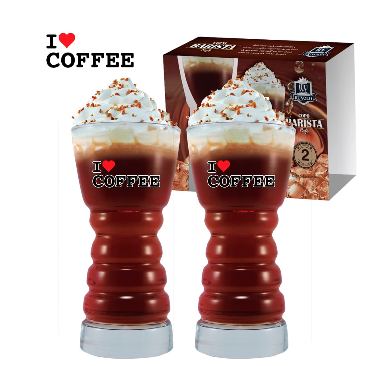 Copos Barista G I Love Coffee 2 Pcs C/ Emb Unit