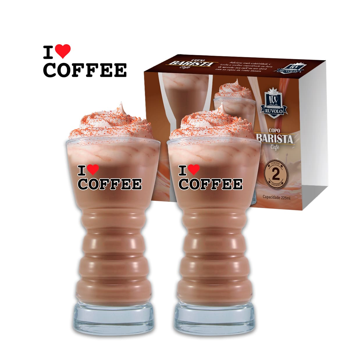 Copos Barista M I Love Coffee 2 Pcs C/ Emb Unit