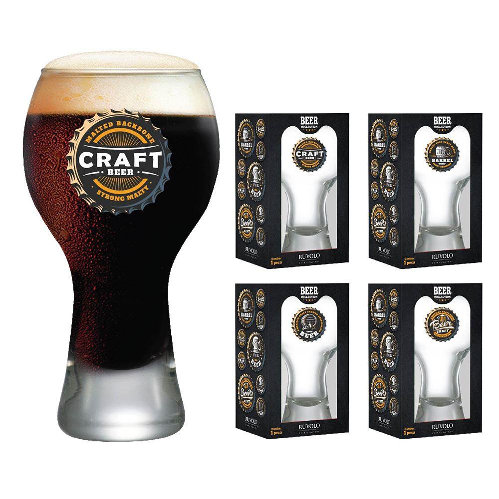 Copos de Cerveja com Frases Beer Coleção 4 Pcs Black 380ml