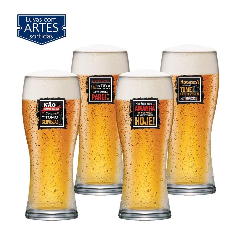 Copos de Cerveja Frases Legais Coleção 4 Pcs Bavaria 290ml