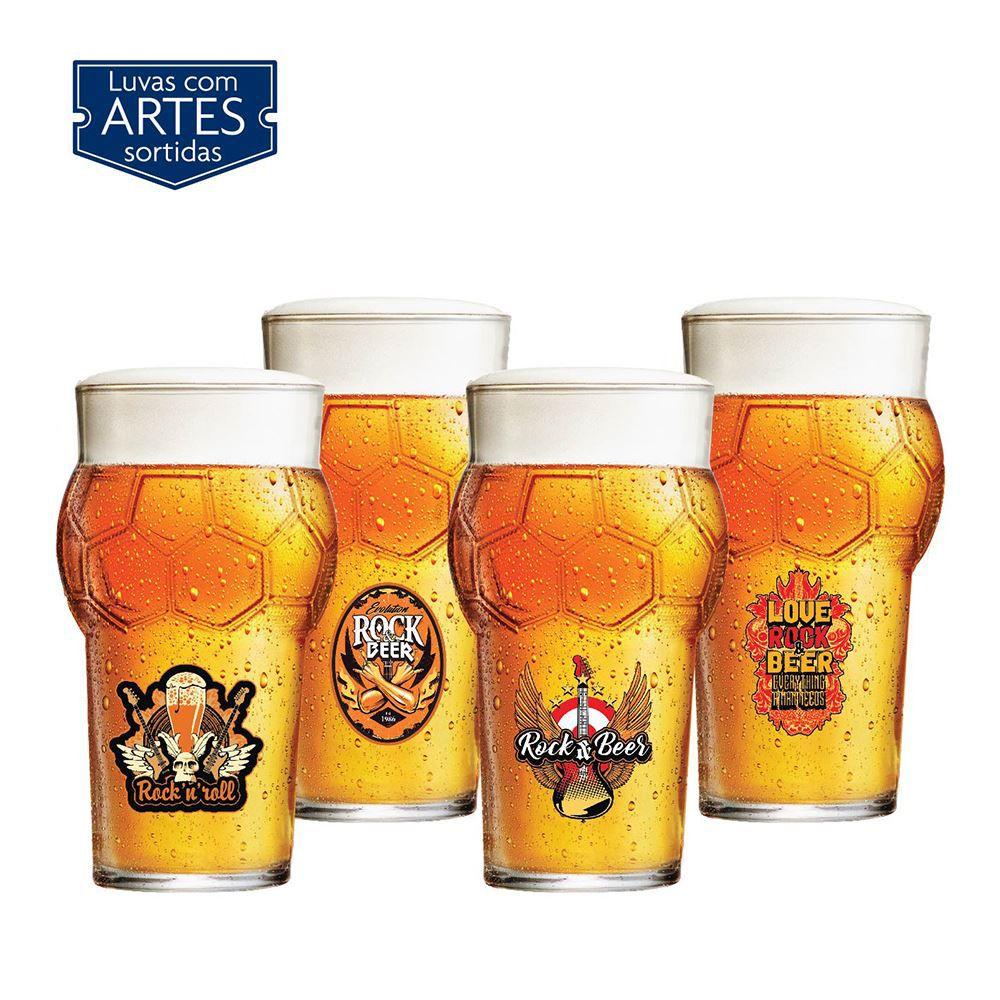 Copos de Cerveja Frases Rock Coll. Coleção 4 Pcs Futebol 580ml