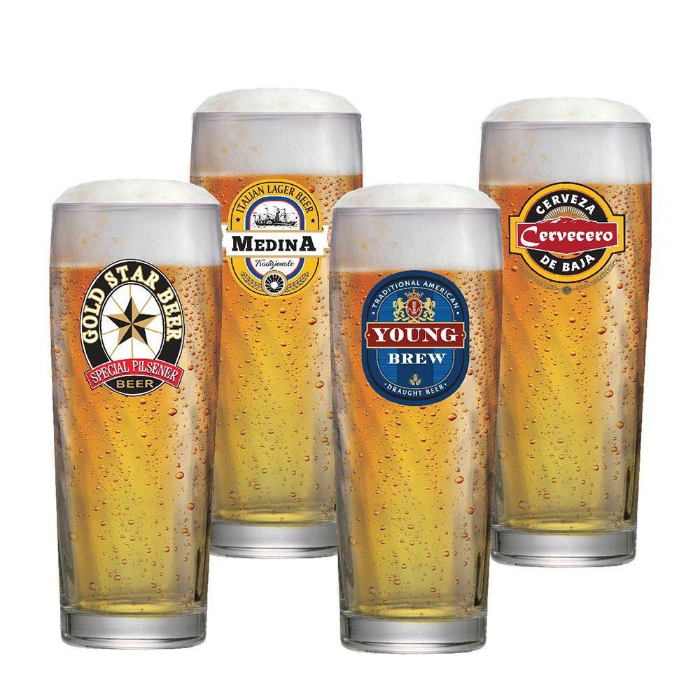 Copos de Cerveja Rótulo Frases Coleção 4 Pcs Zurich 320ml