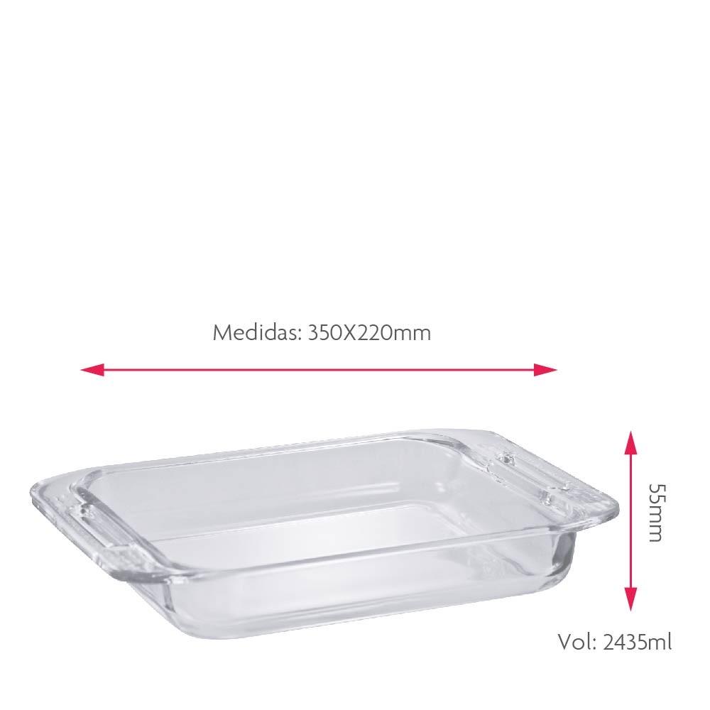 Forma Assadeira Retangular de Vidro Temperada com Alça 2.4L