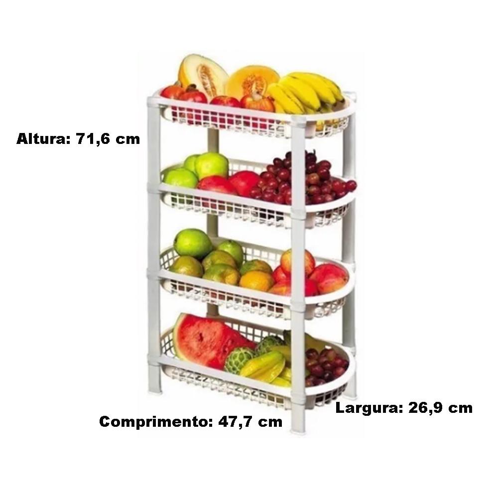 Fruteira de Chão de Plástico Cozinha Moderna 4 Cestos