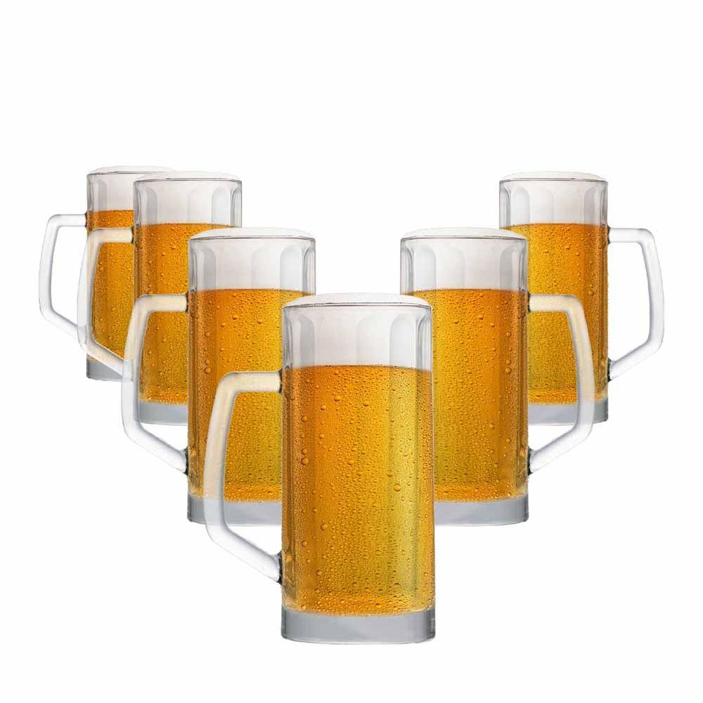 Caneca de Chopp de Vidro Cerveja Berna Canelada M 500ml 6 Pcs