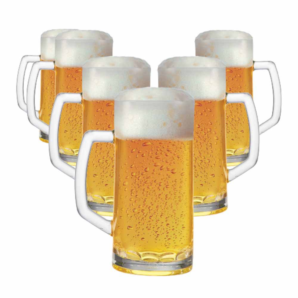 Caneca de Chopp de Vidro Cerveja Berna Canelada M 635ml 6 Pcs
