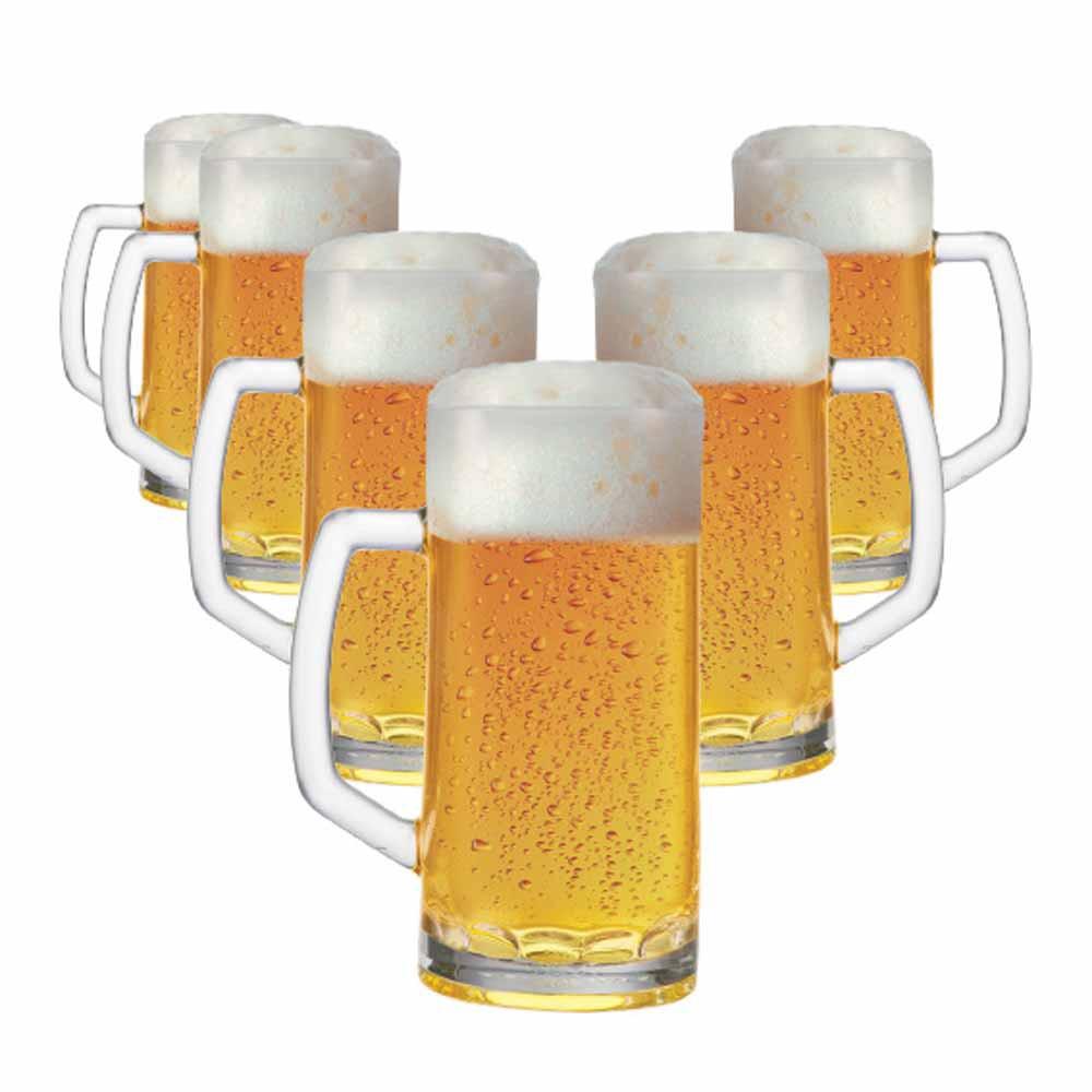 Caneca de Chopp de Vidro Cerveja Berna Canelada P 385ml 6 Pcs